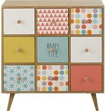 Multicoloured 9-Drawer Storage Cabinet