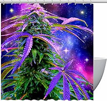 MUMIMI Shower Curtains with Weed And Starry Print