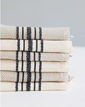 Mungo - Huckaback Hand Towels - Navy/natural
