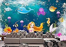 Mural 3D Hd Underwater World 3D Cartoon Mermaid