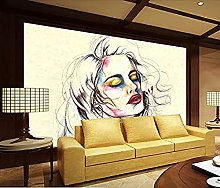 Mural 3D Painting Girl DIY Home Decor Living Room
