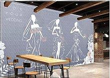 Mural 3D Wallpaper Retro Romantic Wedding Clothing
