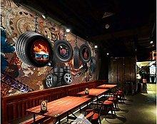 Mural 3D Wallpaper Retro Rust Gear Tire Car