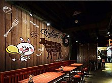 Mural 3D Wallpaper Traditional Steak Vintage