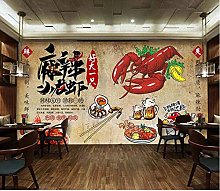 Mural 3D Wallpaper Vintage Spicy Crayfish Catering