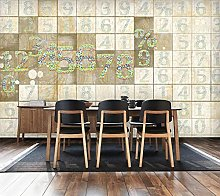 Mural 3D Wallpaper Wooden Board Number Letter Bar