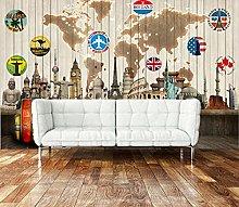 Mural 3D Wallpaper World Map Building Bar 3D