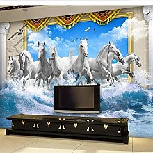 Mural Eight Horses Abstract Seamless 3D Sofa