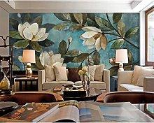 Mural Flower Blue Gardenia Wallpaper Background