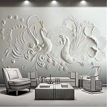 Mural Wallpaper 3D for Living Room Relief Peacock