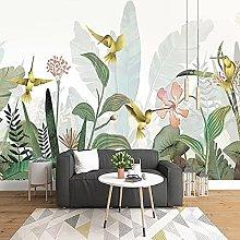 Mural Wallpaper 3D Plant Leaf Flower Bird Forest