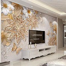 Mural Wallpaper for Bedroom Walls 3D Gold Jewelry