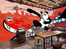 Mural Wallpaper Hand Drawn Panda Barbecue Shop