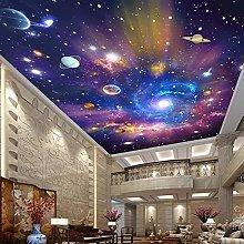 Mural Waterproof Canvas Painting Milky Way Starry Sky 3D Photo Wallpaper Children's Room Bedroom Ceiling Decoration Sticker 200x140cm