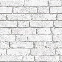 Muriva Bluff Embossed White Brick Faux Effect