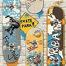 Muriva L29505 Skateboards Wallpaper, Multicolor