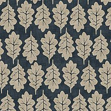 Musbury Oak Leaf Midnight PVC Fabric Wipe Clean
