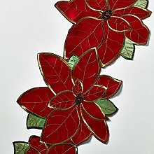 Musbury Poinsettia Christmas Table Runner In Red