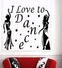 Music Dance Wall Decal Girl Dancing I Love Dancing