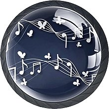 Music Note with Butterlfy Cabinet Hardware Glass 4