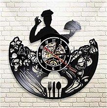 Music Vinyl Record Wall Clock Chef Kitchen Home