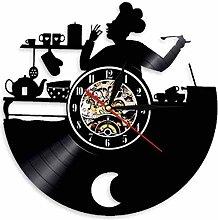 Music Vinyl Record Wall Clock Kitchen Chef Home