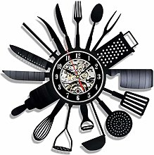 Music Vinyl Record Wall Clock Kitchen Knife and