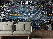 Music Wallpaper for Living Room Graffiti Brick