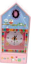 Musicbox World Owl Musicbox with Clock, Wooden,
