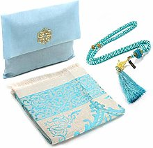 Muslim Prayer Rug and Beads with Elegant Slub