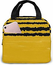 Mustard Yellow Lines Lunch Bag Tote Bag Lunch Box
