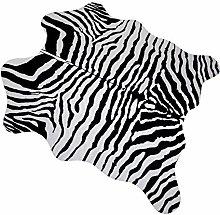 MustMat Faux Zebra Print Area Rug 4.5x5.2 Feet