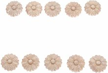 MUXSAM 10Pcs 3cm Wood Carved Corner Frame Applique
