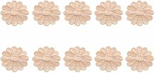 MUXSAM 10Pcs Unpainted Round Flower Pattern Wood