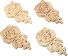 MUXSAM 4pcs 10 * 6cm Wood Carved Corner Applique