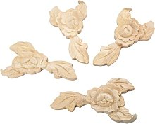 MUXSAM 4pcs 14 * 7.5cm Wood Carved Corner Onlay
