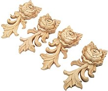 MUXSAM 4pcs 15 * 6.5cm Wood Carved Corner Onlay