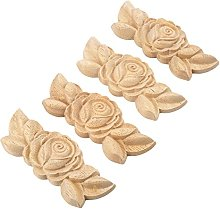 MUXSAM 4pcs 9 * 3.5cm Wood Carved Corner Applique