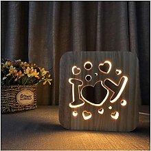Muzyo Led Night Light i Love U 3D Creative Wooden