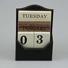 mxdmai Wood Desk Calendar Vintage Wood Block