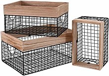 Mxfurhawa Wire Basket with Wooden Top, Rustic