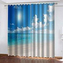 MXYHDZ Blackout Curtains for Bedroom - Beach blue