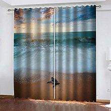 MXYHDZ Blackout Curtains for Bedroom - Beach