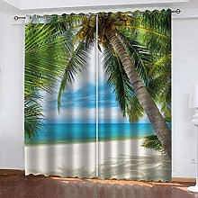 MXYHDZ Blackout Curtains for Bedroom - Beach with
