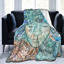 my cat Blanket Woman Body Ocean Fish Bird Vintage