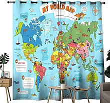 My World Map Blackout Curtains 2 Panels Set For
