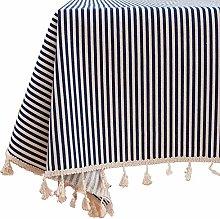 MYBOON Pastoral Tassel Tablecloth Floral Stripes
