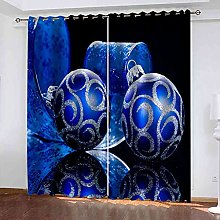MYCAVE 3D Blackout Curtains Thermal Insulated Blue