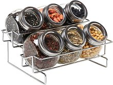 MyGift 6 Jar Metal and Glass Food Spice Kitchen