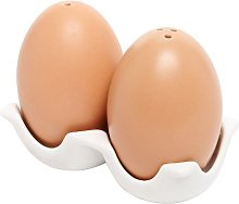 MyGift Brown Egg Design Salt and Pepper Shaker Set